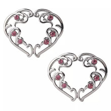 2pcs New Punk Red Heart Clip On Fake Nipple Ring Non Piercing Stainless Steel Nipple Shield Women Sexy Body Jewelry Gift