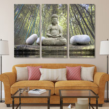 HD Printed Buddha stone bamboo forest Painting Canvas Print room decor print poster picture canvas Free shipping/NY-6813C(China)