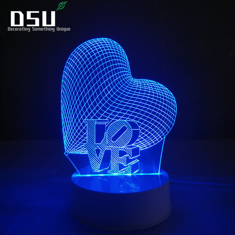 все цены на 3D Optical Illusion Desk Lamp Night Light, 7 Color LED Lamp, Heart with Love For Kids and Adults, Love Heart Light Up онлайн