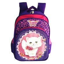 New 2017 Cartoon cat print backpacks Girls pink School Bags Waterproof Foldable Orthopedic kids School Backpacks