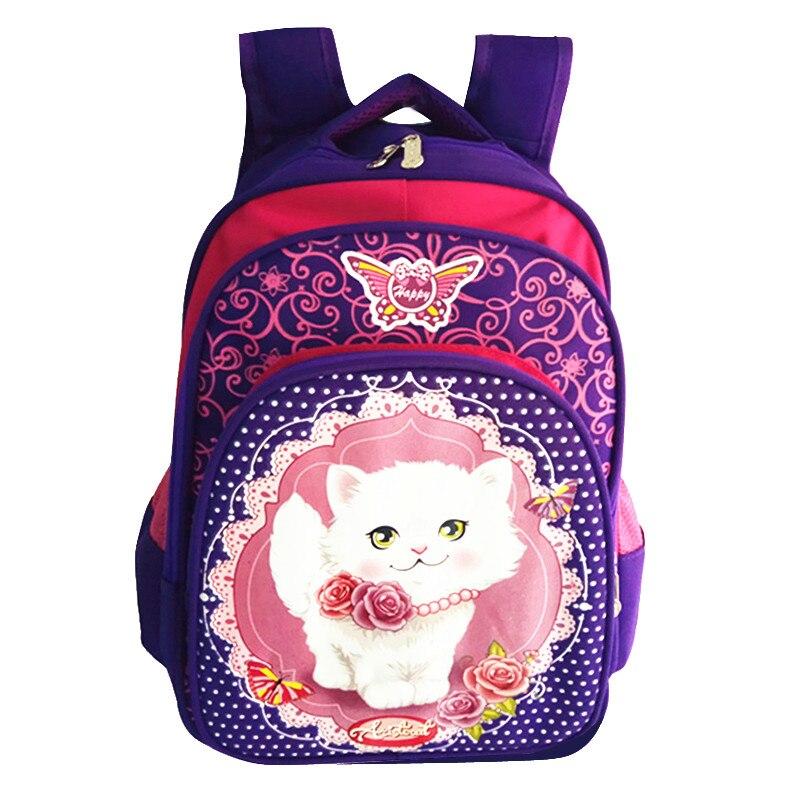 New 2017 Cartoon cat print font b backpacks b font Girls pink School Bags Waterproof Foldable