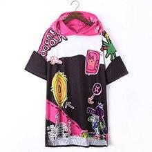 2018 Hip Hop Long Top Summer Europe Fashion Graffiti Street Female Loose Printing T-shirt Women Short Sleeve O-Neck Tees