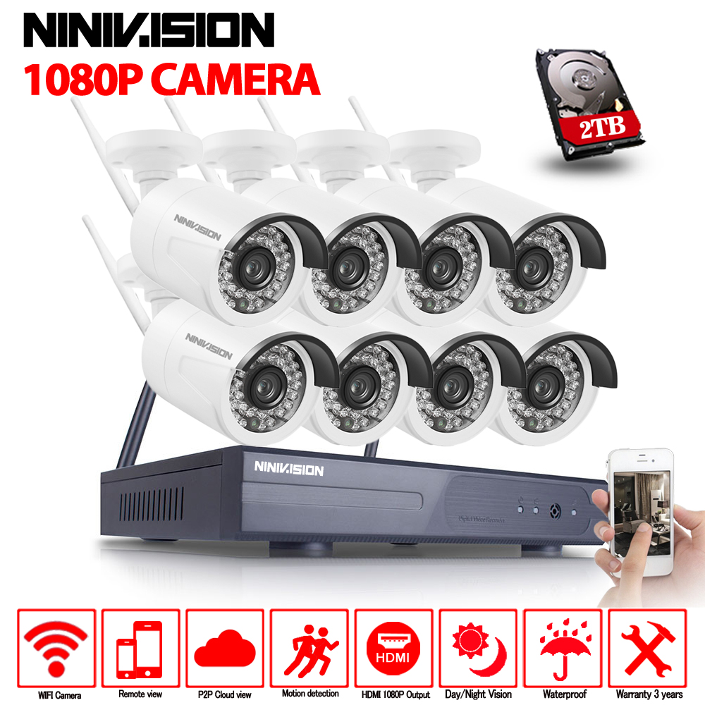8CH CCTV System Wireless 1080P NVR 8PCS 2.0MP IR Outdoor P2P Wifi IP CCTV Security Camera System Surveillance Kit 2TB HDD