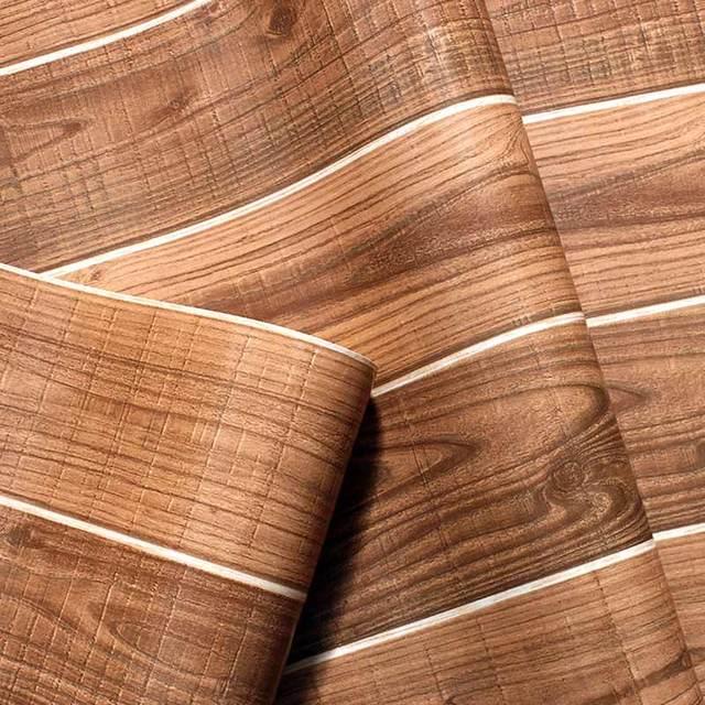 Wood Grain Pvc Waterproof Vinyl Wall Paper Vintage Living Room Restaurant Brown Panels Wallpaper