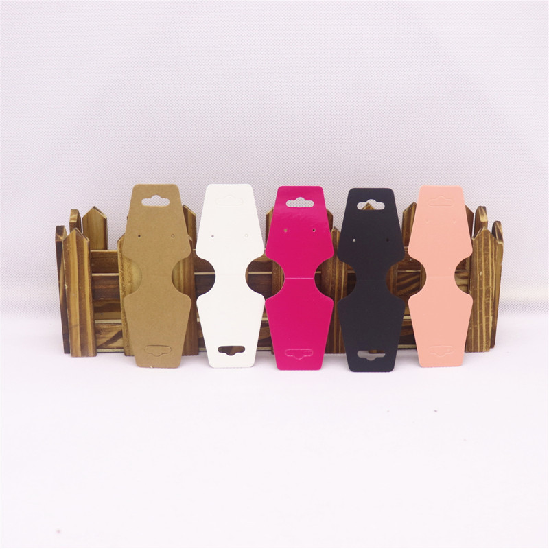 50pcs Hot Sale Jewelry Display 5 Color  Pink/Black/White/Kraft/Rose Red Folded Cards Cardboard High-Quality 12*4.5cm Paperboard