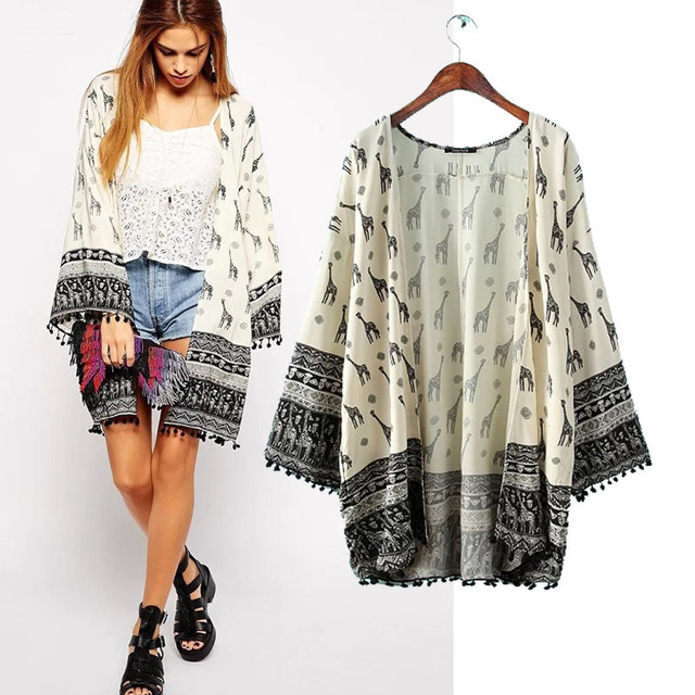 2d91306007c0e Cardigan kimonos para mujer blusas mujer ropa 2016 de la nueva vendimia  flecos hem costura retro
