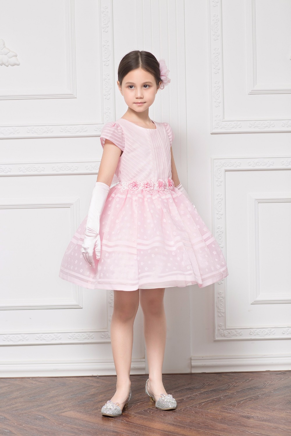 Vestidos Sweet Pink Tulle Flower Bow Sash Lace Stripe Flower Girls
