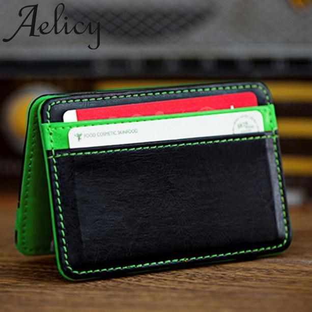 Aelicy Mini Neutral Magic Bifold Men Wallets Leather Short Wallet Male Coin Purse Wallet Holders Handbag Credit Card Holder Bag