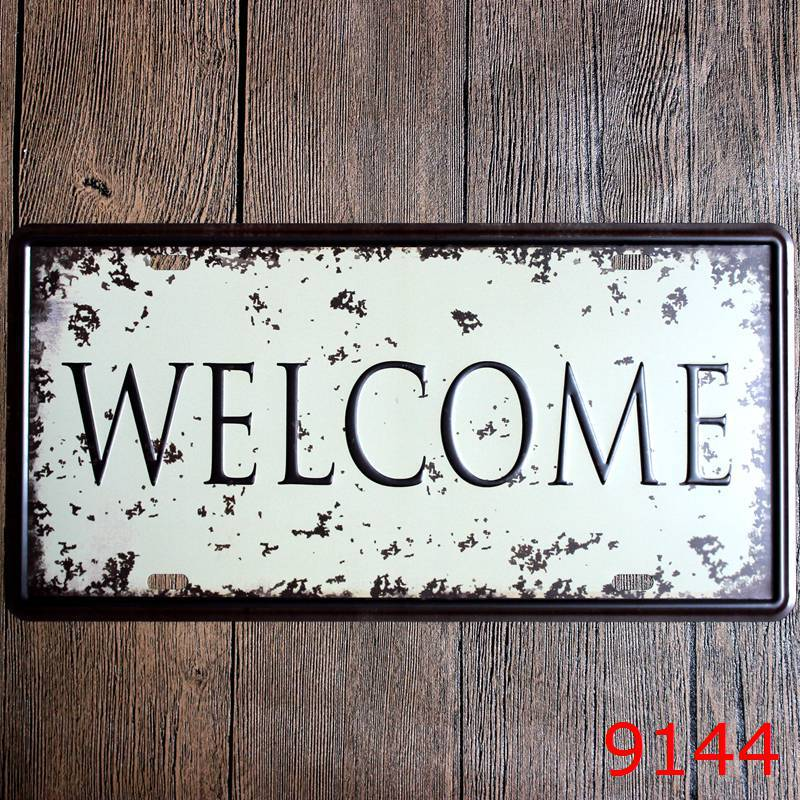 15x30 cm vintage license plates WELCOME SIGNS retro iron painting wall sticker number plate metal craft DECOR