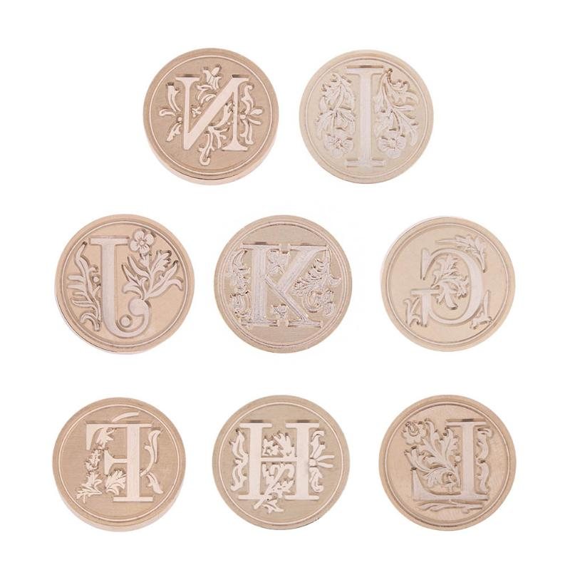 A-N Letters Vintage Envelope Sealing Stamps European Style Copper Head Document Letter Wax Paint Seal Round Embossing Stamp