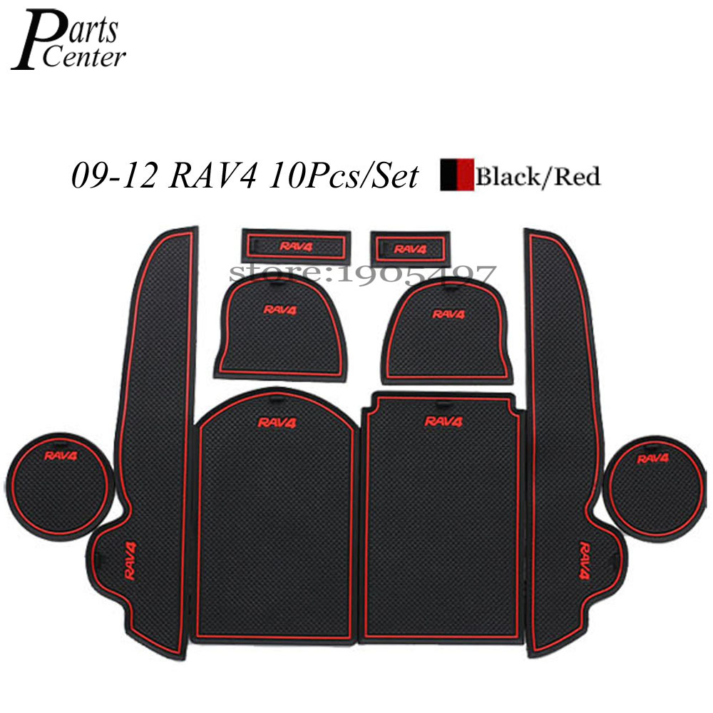 Rubber floor mats toyota rav4 - Car Styling 10pcs Rubber Interior Door Pad Gate Slot Mats Automotive Decoration Accessory For Toyota Rav4