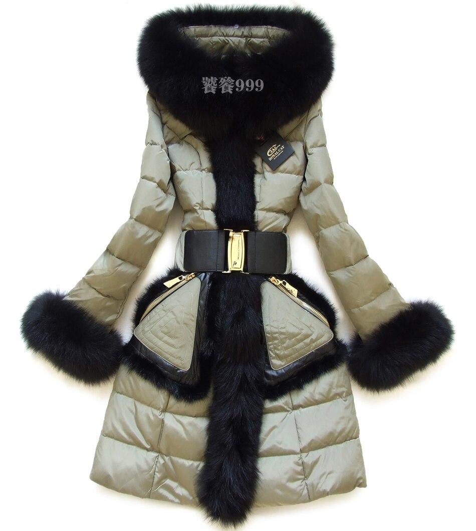 РоялКэт 2016 Зимняя куртка пуховые куртки для девочек Мех животных капюшон Для женщин длинное пальто большой Лисий Мех животных тонкий верхн