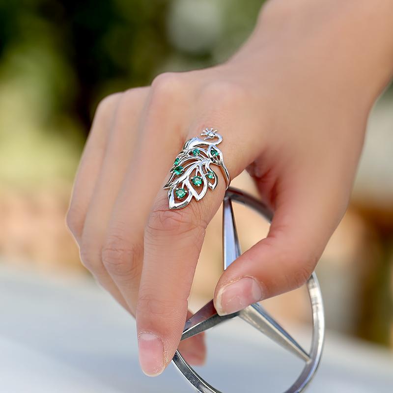 925 bague en argent Sterling mode tempérament chanceux bijoux paon femmes filles anneaux remplis anneaux cadeaux accessoires