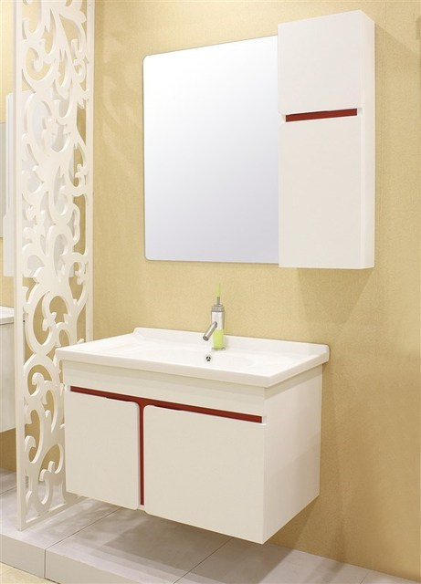 Wall Mounted White Basin Bathroom Vanities Pvc Cabinet 0283 1010