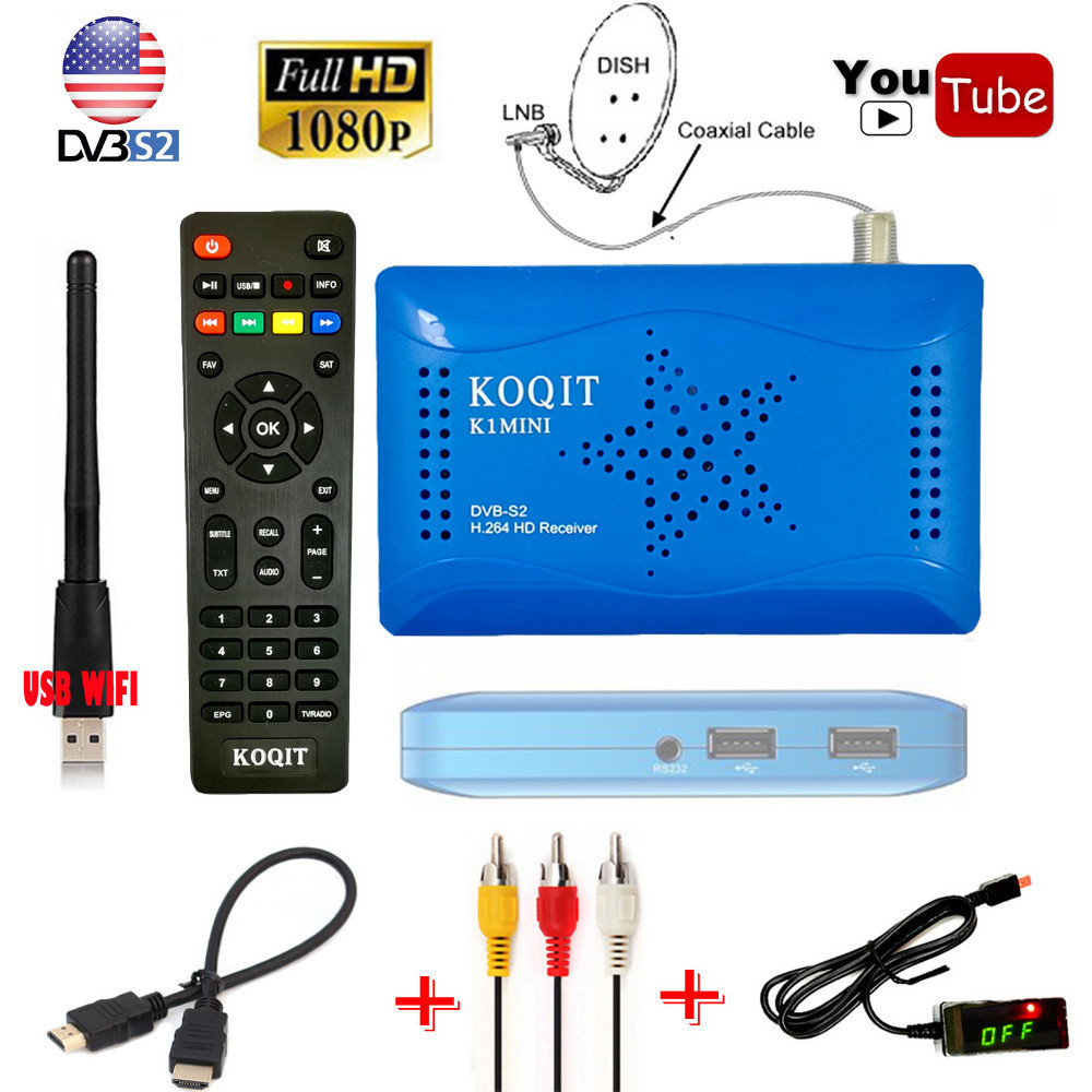 KOQIT Brazil South America Digital Satellite Receiver DVB-S2 HD Tuner Wifi Cccam Newcam Biss Vu Youtube EPG USB Capture Recorder