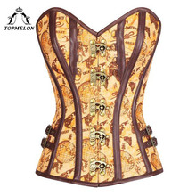 3cd78a77975 TOPMELON Yellow Corset Stripe Pattern Women Bustier Top Floral Overbust  Slimming Tops Sleeveless Seampunk Retro Style