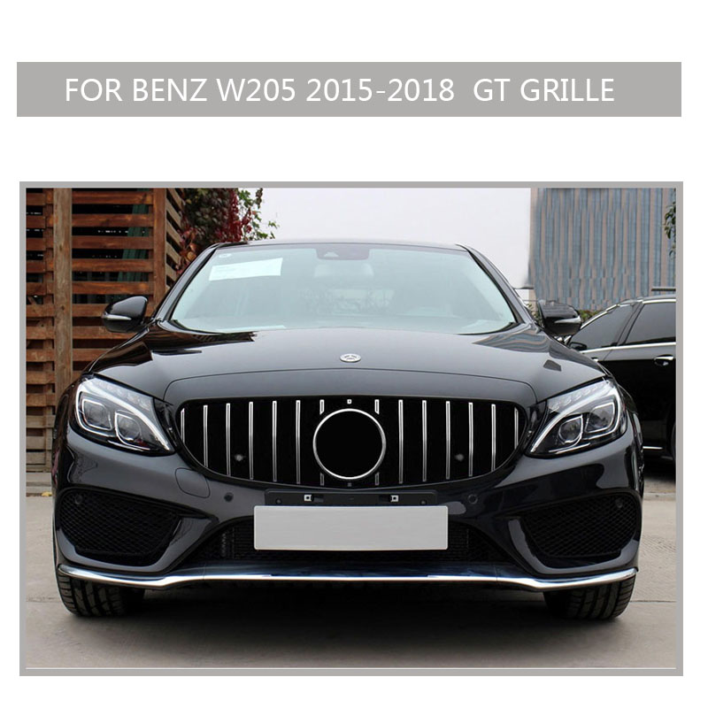 w205 Grille black Emblem Front Bumper mesh Radiator  Grill  For  benz w205 c-class 2015~2018 Car 01
