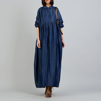 Johnature 2018 Spring Women Solid Color Peter Pan Collar Dresses New Casual Loose Waist Batwing Sleeve Denim Cotton Dresses