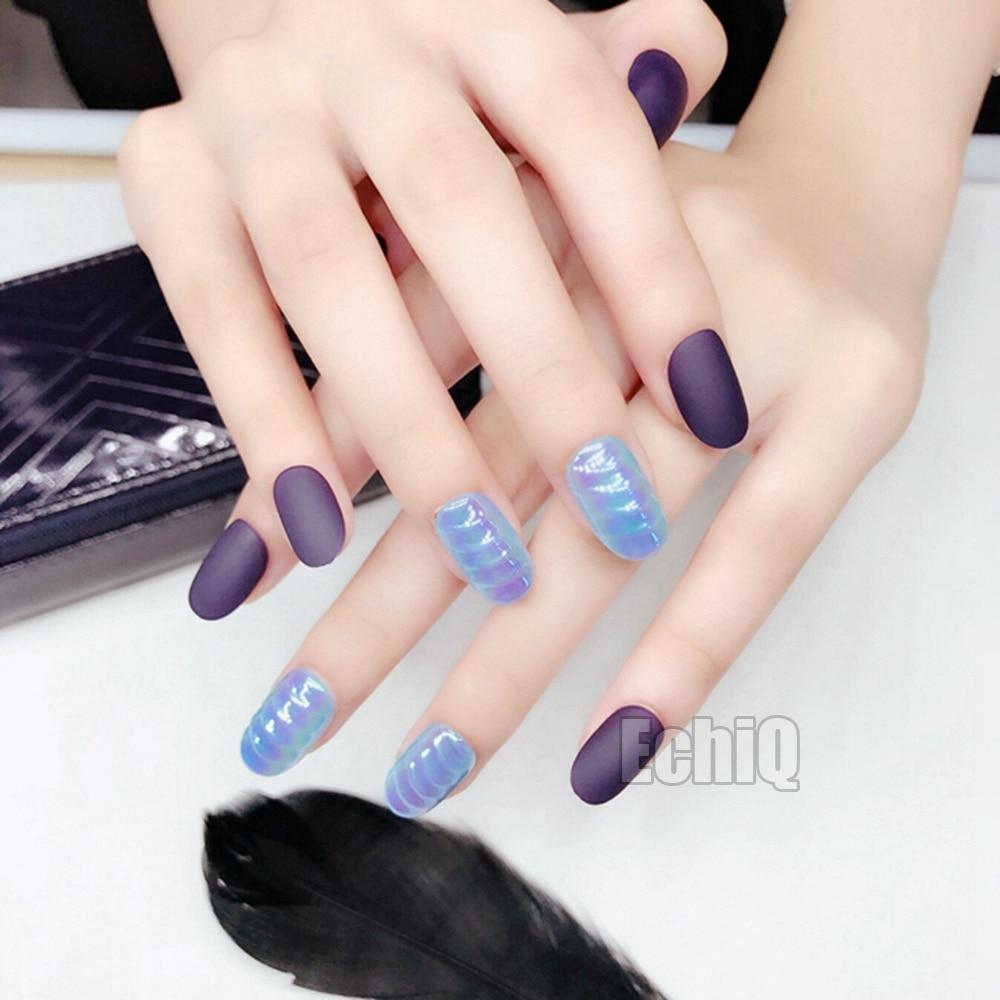 Clam shells Chrome Pre glued Press On Nails Dark Purple Matte Nail ...