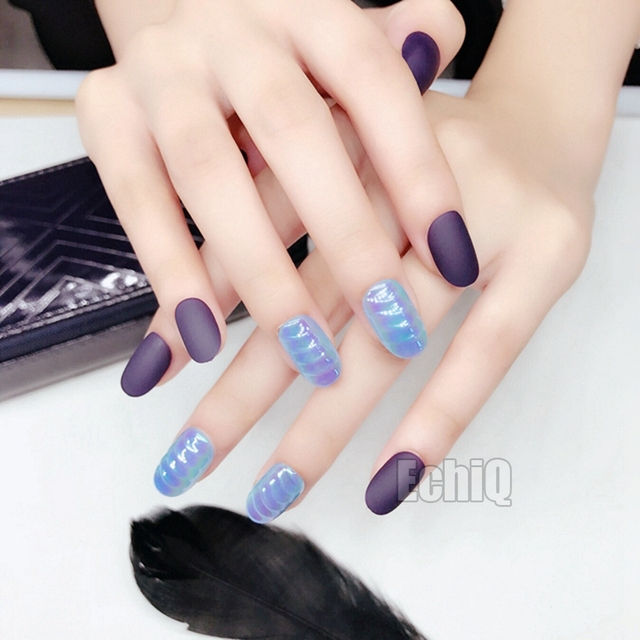 Clam Shells Chrome Pre Glued Press On Nails Dark Purple Matte Nail Art Tips For