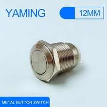 1pcs 12mm 2pins/3pins Waterproof Momentary Flat Round Metal Push Button Switch Car Start Horn Speaker Bell Automatic Reset V015