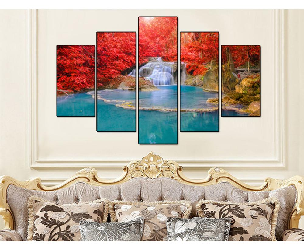 5 Panel Wall Art Canvas Landscape Lukisan Red Maple Leaf Forest Wall - Hiasan rumah - Foto 3