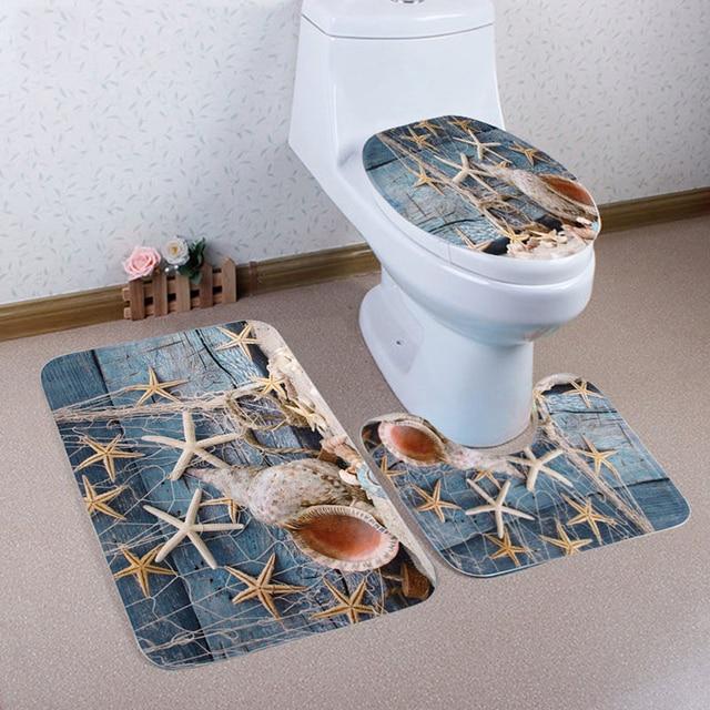 3pcs set soft coral velvet toliet seat cover starfish conch cover