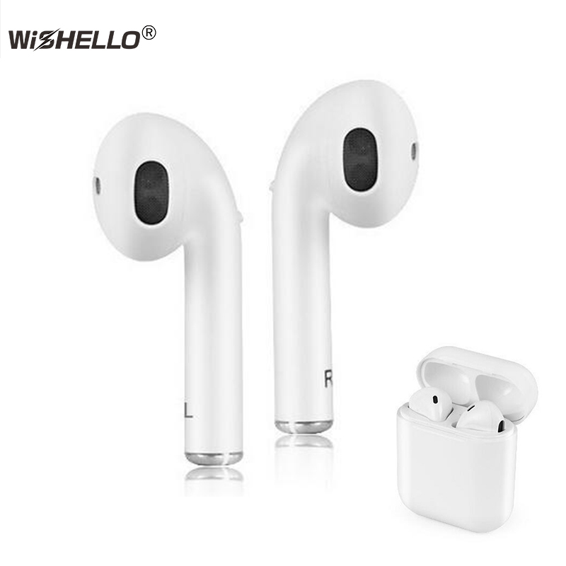 WiSHELLO Tws Wireless Earphones Mini Music Headset V4.2 Stereo Build in Mi with Portable Charging Box for Iphone Xiaomi