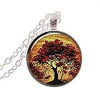 Quercia rossa collana albero sunset picture art pendente di fascino tree of life collana cabochon ciondolo in argento a catena collane regali vegetali