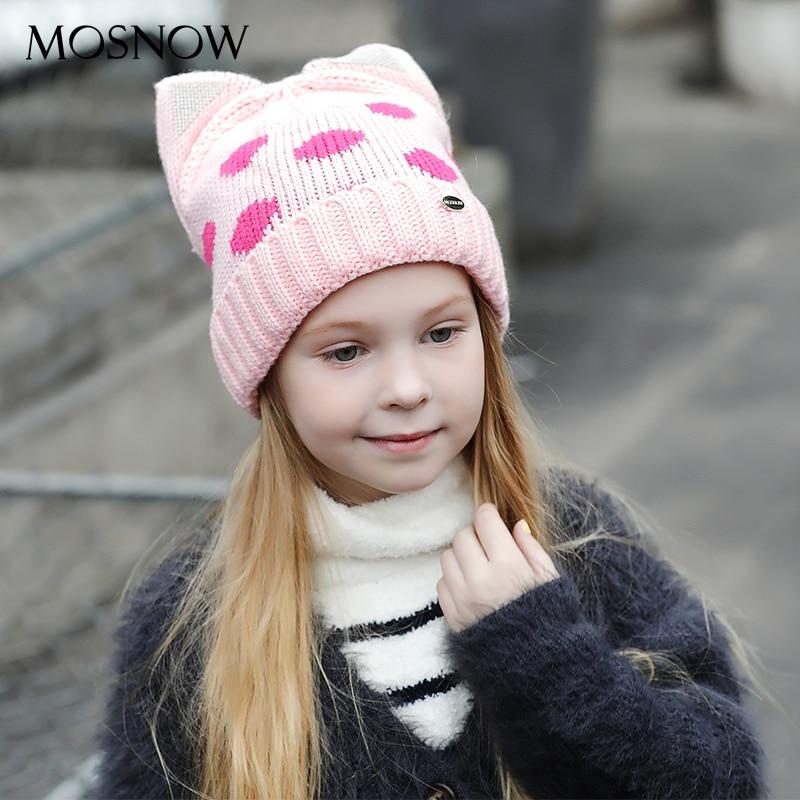 MOSNOW Bonés Crianças Menino Menina Gato Bonito Ouvido Marca de Moda de  Nova 2018 de Alta b10ff0af864