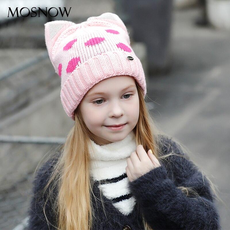 MOSNOW Caps Children Boy Girl Cute Cat Ear Knitted Winter Brand New Fashion 2017 High Quality Baby Hat Skullies Bonnet #MZ867