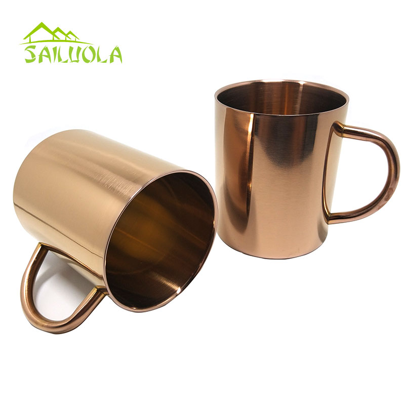 Nordic Wind Copper Plating Double Wall 304 Stainless Steel Mug Water Coffee Cup With Handgrip Metal Drinkware In Mugs From Home Garden On Aliexpress