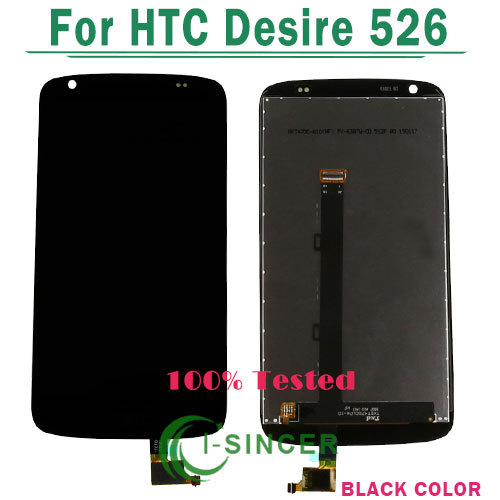1/pcs Tested For HTC Desire 526G D526h V02 526 lcd display with touch screen digitizer assembly Black Color Free shipping