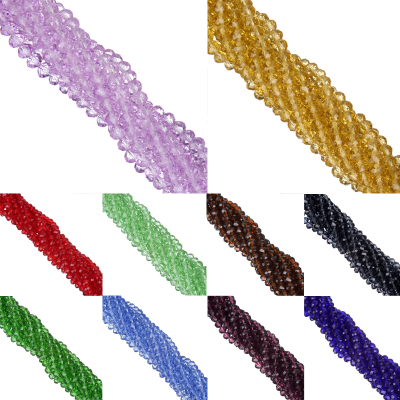 LNRRABC 6MM 100pcs/lot New !Top Quality !Clear/Transparent Faceted Glass String Beads for Jewelry Making Bicone Free Shipping