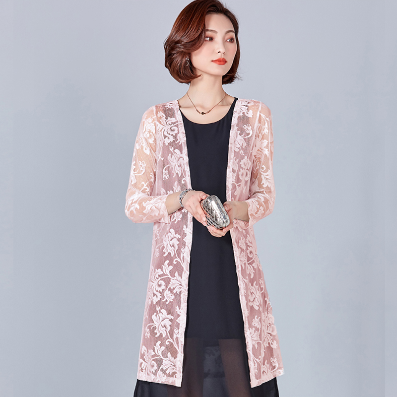 2018 Ladies Long Summer Kimono Cardigan Women Thin Beach Suncreen Jacker Hollow Cover Up Tops Plus Size Pink Floral Clothes