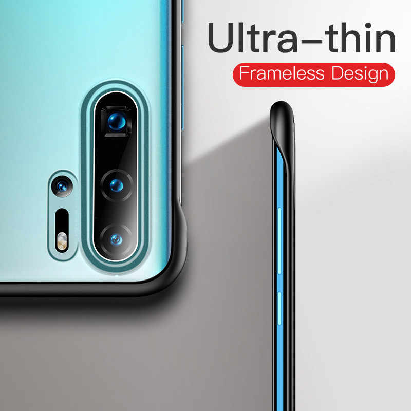 USLION Frameless Transparent Matte Phone Case For Huawei P30 Pro P20 Mate 20 10 Honor V20 20 Pro Hard PC Cases Cover With Ring
