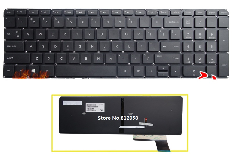 NEW For HP ENVY 17t-k100 17t-k100 17t-k200 Keyboard Backlit Russian No Frame