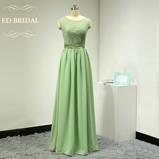 Custom Made Illusion Lace Chiffon Sage Green Long Bridesmaid Dresses Women Formal Party Dress For Special