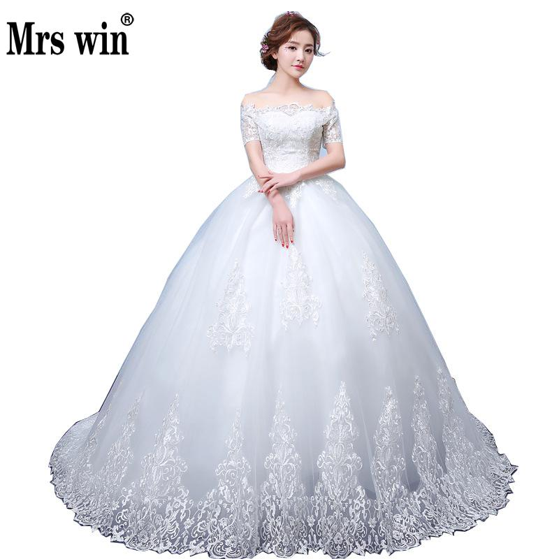2019 New Wedding Dress Mrs Win Elegnat Boat Neck Sweep Train Lace Up Ball Gown Princess