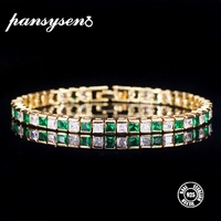 713c62d9e361 PANSYSEN 18K Gold Color Luxury Real 925 Silver Jewelry Bracelets For Women  With Green Blue White