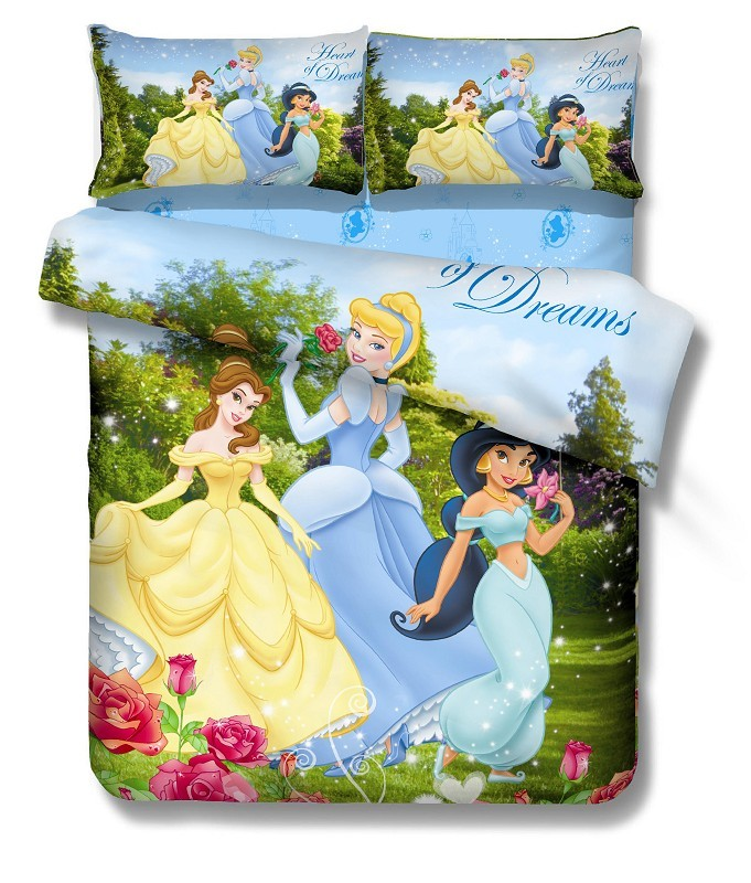 Disney Cartoon Princess Bedding Sets Single Twin Size Bedspread Sheets Duvet Cover Cotton 400TC Girl's Bedroom Decor Blue Green