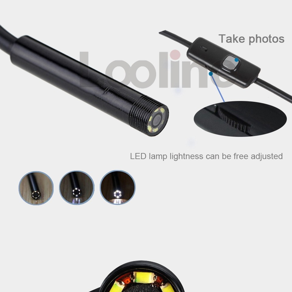 6 lED 5.5MM USB Endoscope Camera IC5M 640x480 with 3 Accessaries Waterproof Inspection Borescope Camera