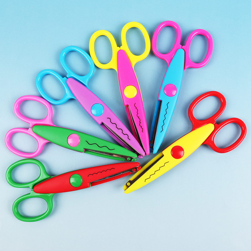 1PC Lace Scissors Metal And Plastic DIY For Kids Scrapbooking Photo Colors Scissors Paper Lace Diary Decoration With 6 Patterns