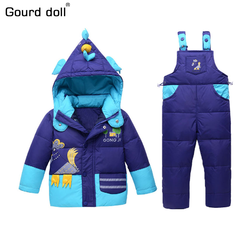 Suitable 1-2 years Baby boys girls winter clothing set 90% thicken duck down snow wear kids overalls for infant down & parkas