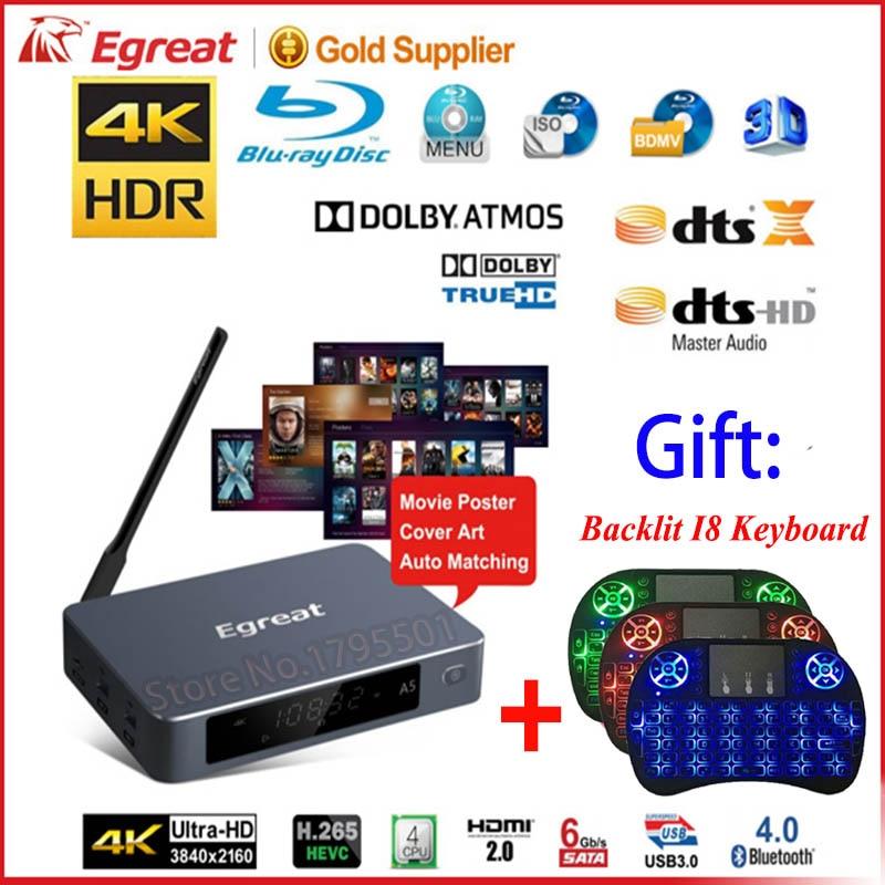 Egreat A5 UHD Android TV Box & cadeau clavier sans fil professionnel 4 K BD Menu HDD lecteur multimédia HDR 2G/8G 802.11AC WIFI 1000 M LAN