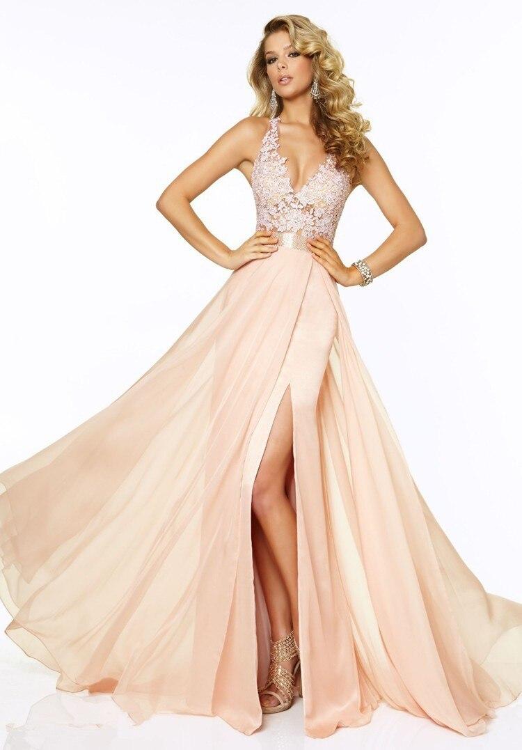 Pink Chiffon   Prom     Dresses   2015 Sexy A Line Lace Evening   Dress   V Neck Side Slit Floor Length Women Gows Vestido De Festa Longo