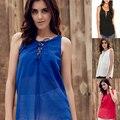 Mulheres da moda Colete de verão Sem Mangas Com Decote Em V Tops Plus Size M-5XL camisetas Chiffon Vintage tops LJ6215E