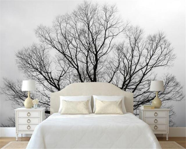 beibehang personnalis papier peint noir et blanc arbres arbres murale tv fond mur salon chambre. Black Bedroom Furniture Sets. Home Design Ideas