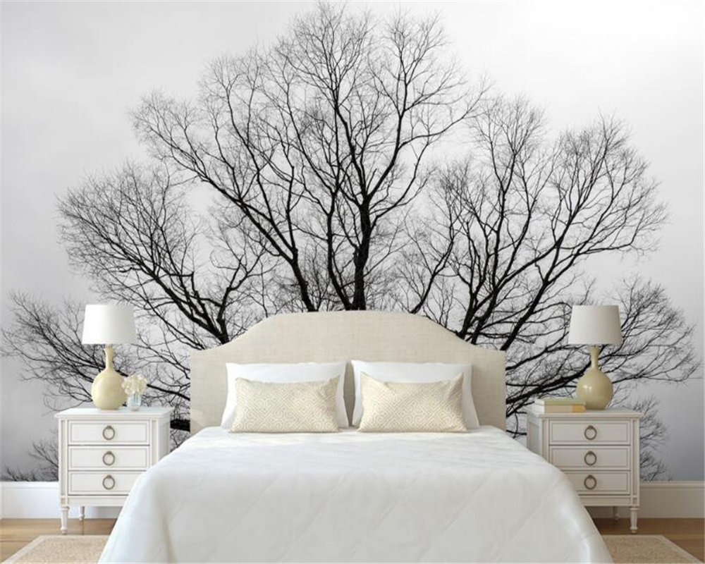 beibehang personnalis papier peint noir et blanc arbres. Black Bedroom Furniture Sets. Home Design Ideas