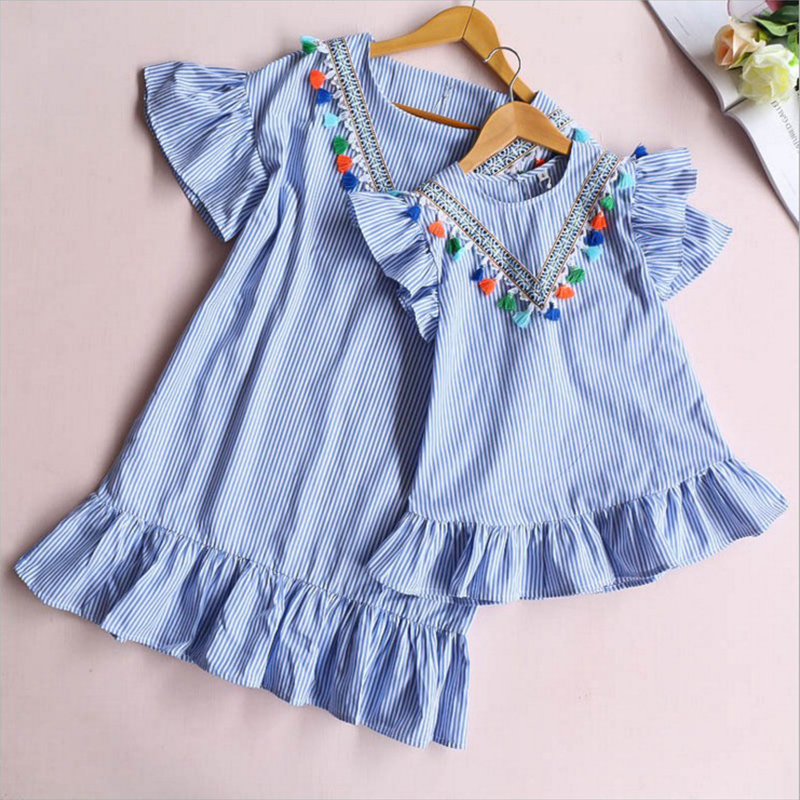 Family Matching Clothes Nine Quarter Stripe Tassel Mini Dress Mom And Daughter Dress Summer Outfits Mother And Daughter Clothes(China)